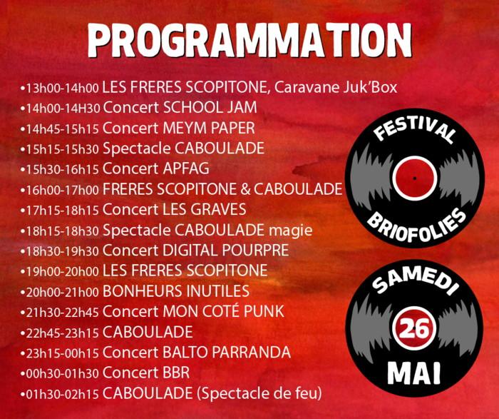 Programmation - BrioFolies 2018 - Festival rock - Brières les Scellés - Essonne 91