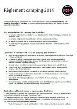 Réglement du camping des BrioFolies
